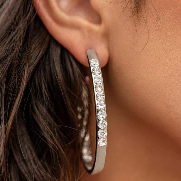 Borderline Brilliance Silver Hoop Earrings